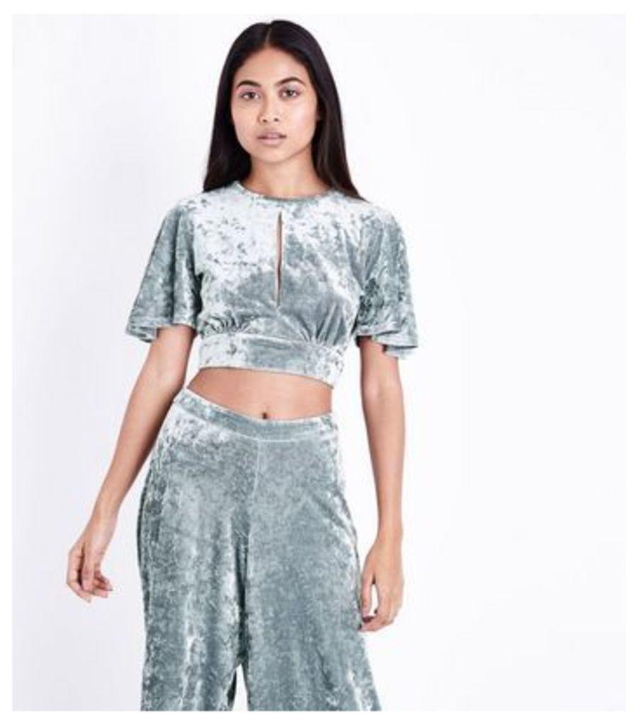 Petite Silver Velvet Tie Back Crop Top New Look