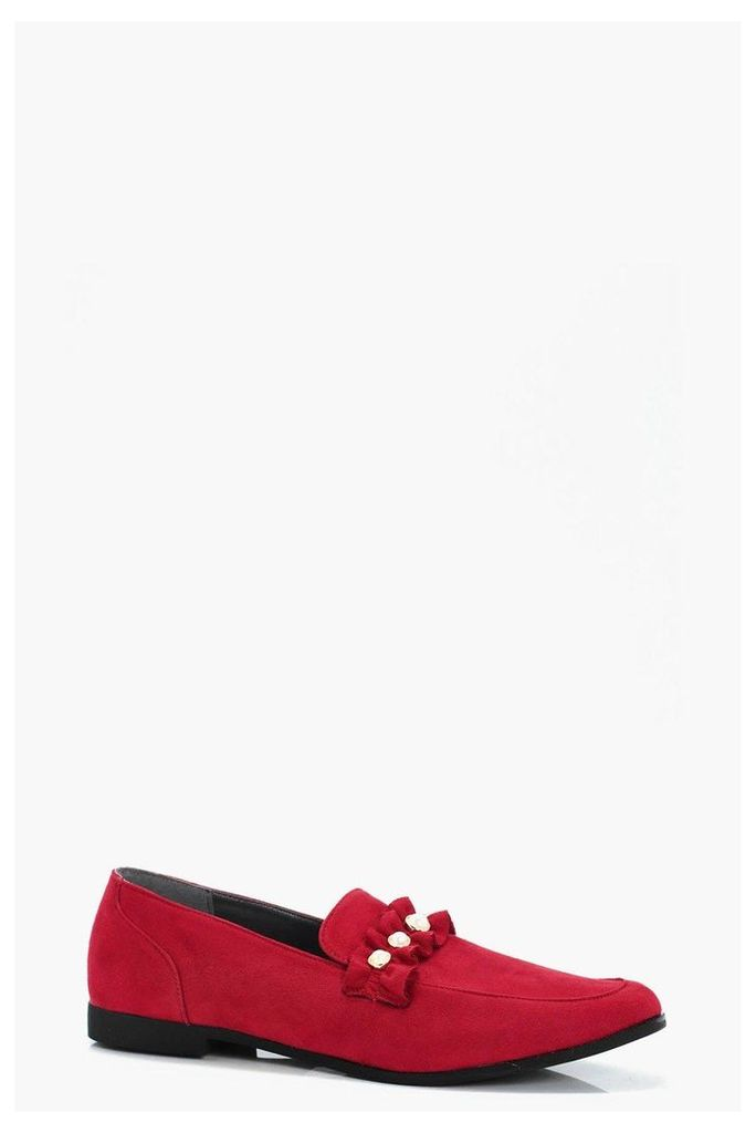 Pearl & Frill Trim Loafer - red
