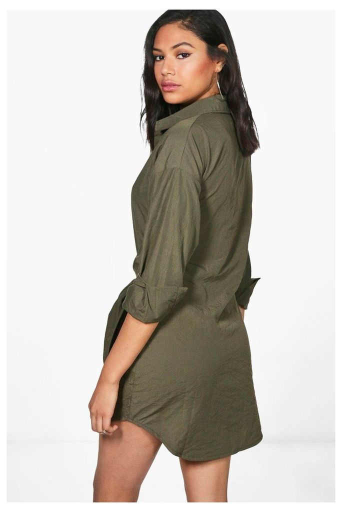 Tie Front Shirt Dress - khaki