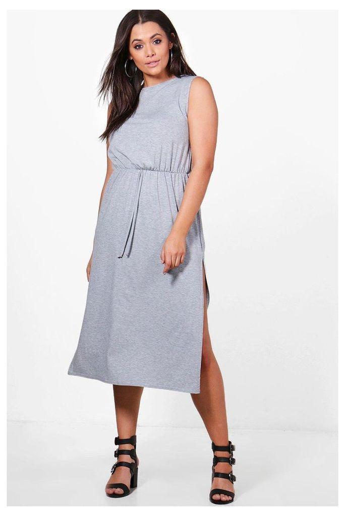 Amelia Jersey Basic Split Midi Dress - grey