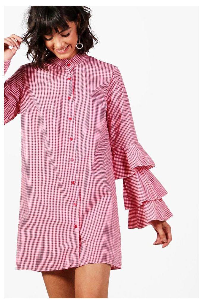 Gingham Ruffle Sleeve Shirt Dress - red