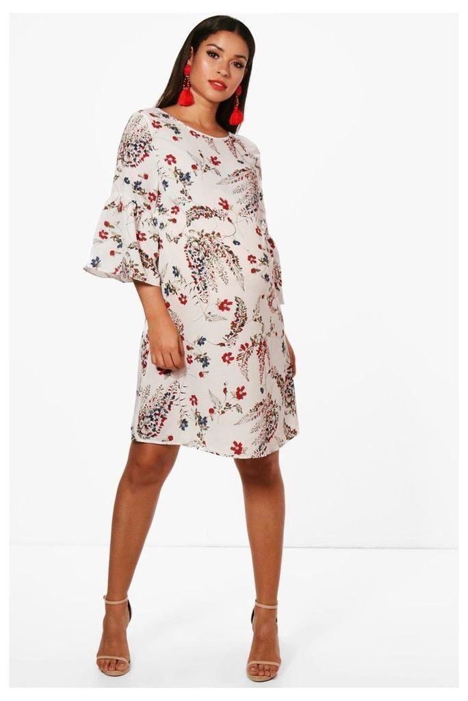Olivia Frill Sleeve Printed Shift Dress - multi