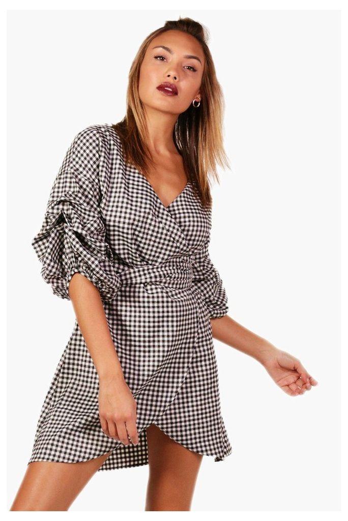 Gingham Volumised Rouched Shirt Wrap Dress - black