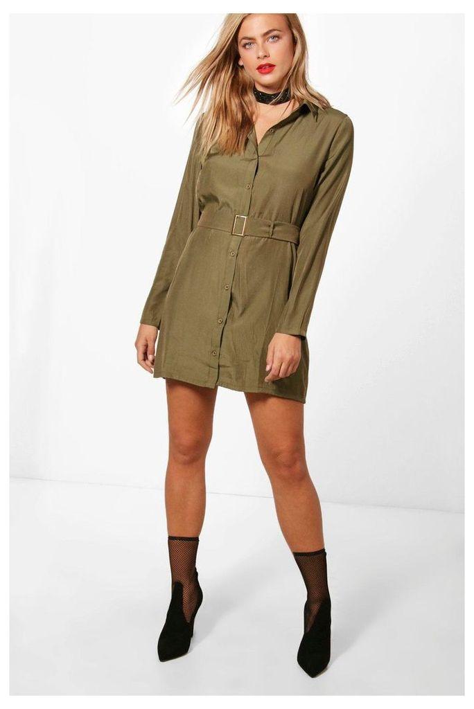 Utility Belted Shirt Dress - khaki