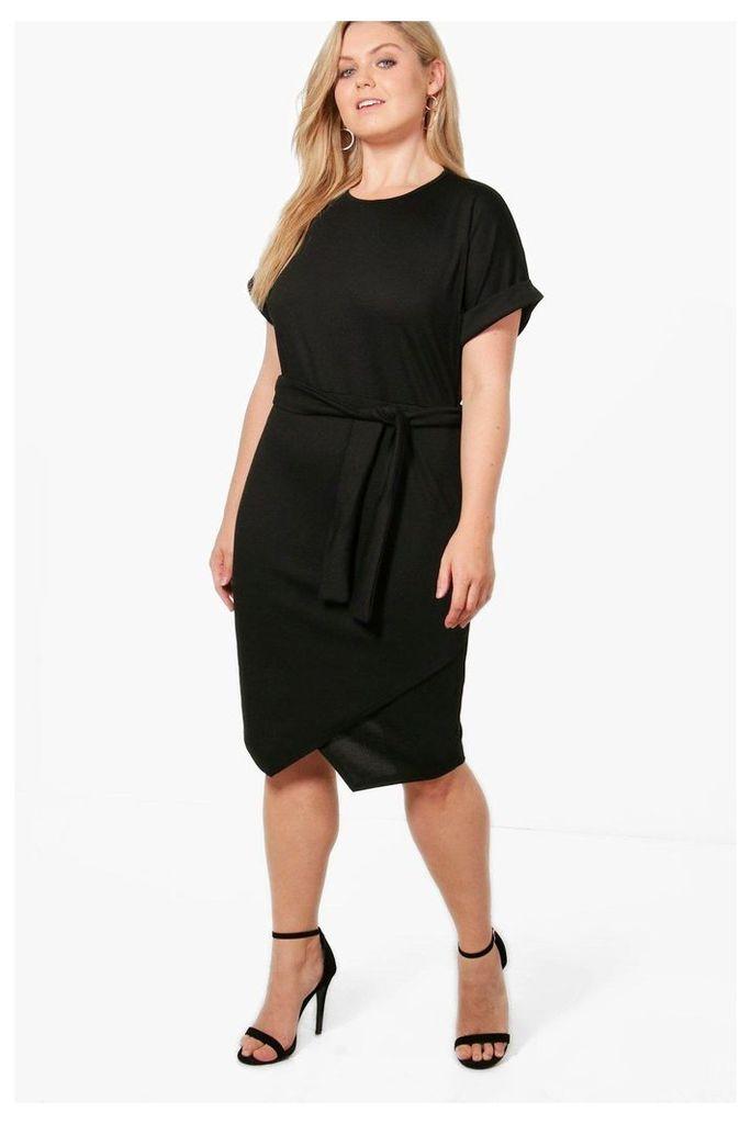 Esther Asymmetric Tie Waist Wrap Dress - black