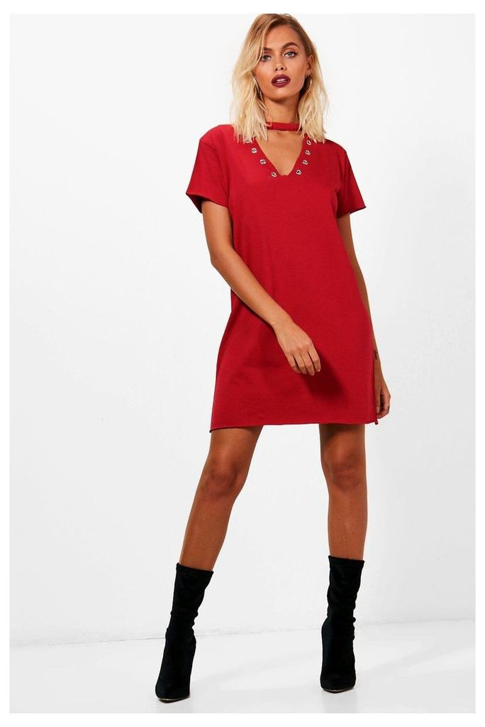 Eyelet Choker Detail T-Shirt Dress - burgundy