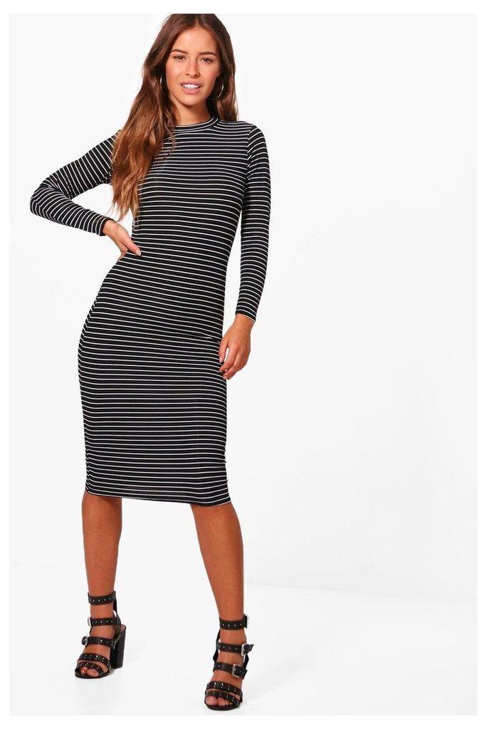 Harriet Stripe Rib Midi Dress - black