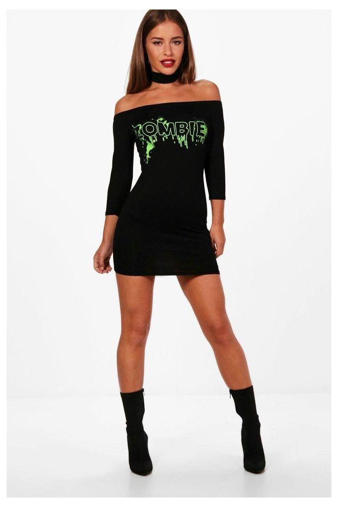 Dani Halloween Zombie Choker Dress - black