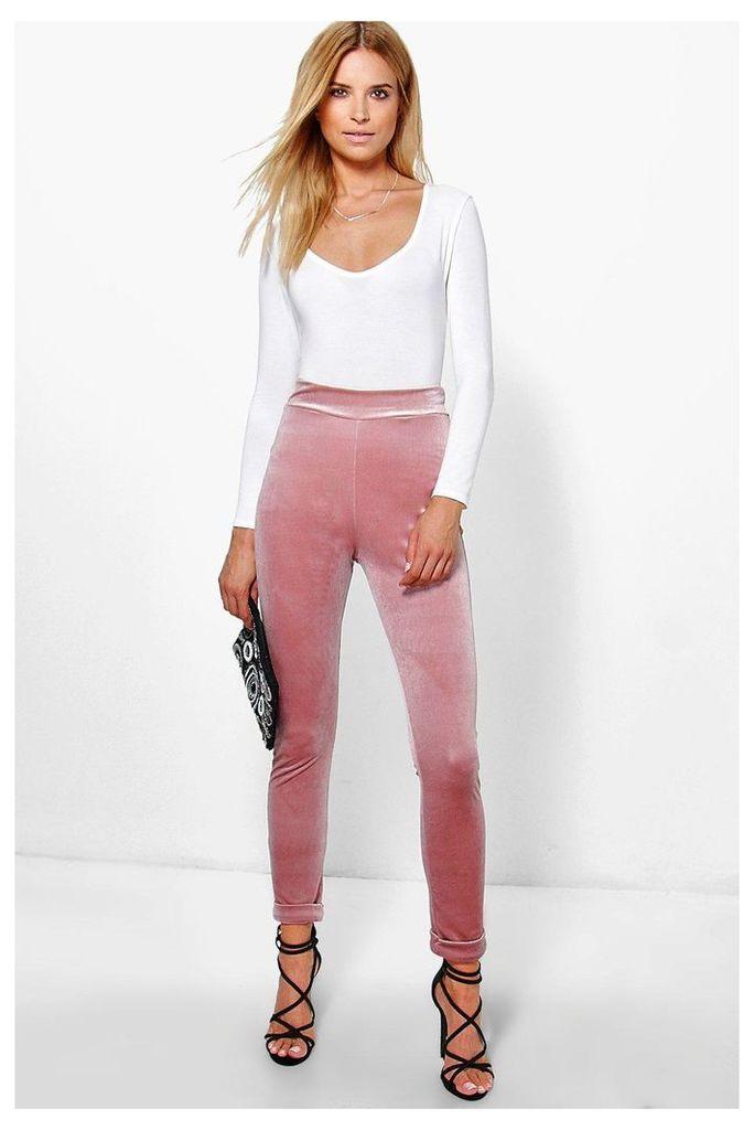Velvet Turn Up Skinny Trousers - rose