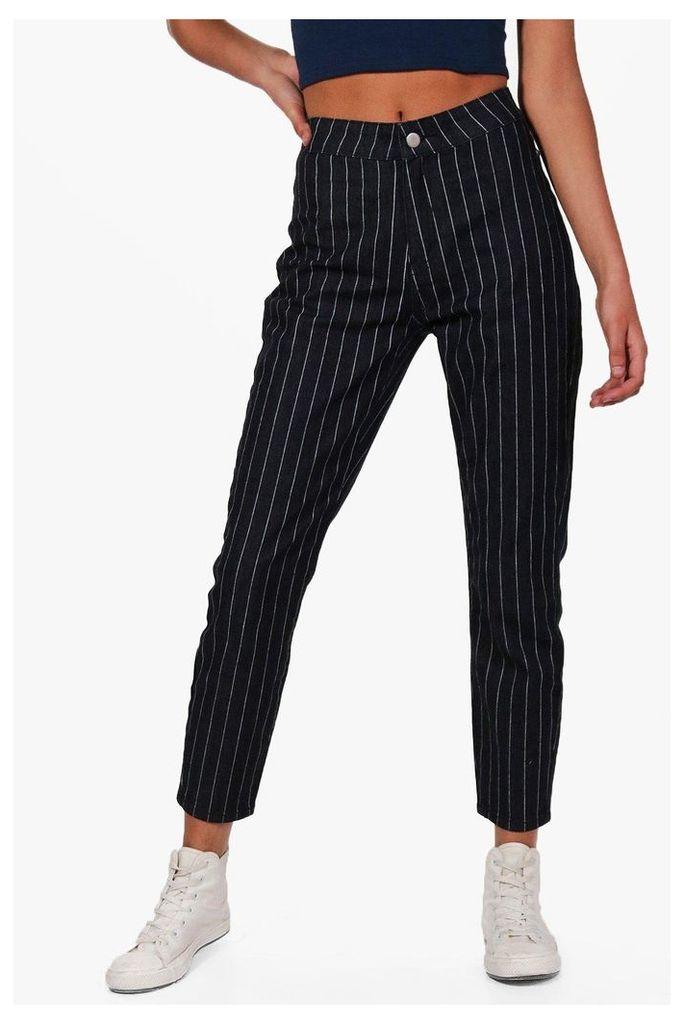 Stripe Skinny Tube Jeans - black