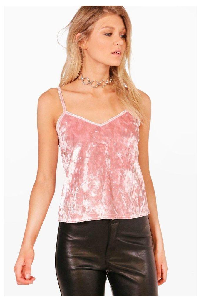 Shelly Crushed Velvet Cami Top - blush