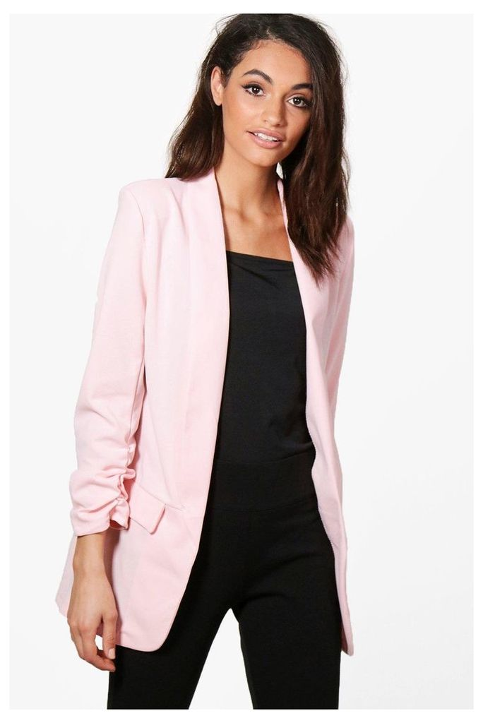 Gathered Sleeve Tailored Woven Blazer - pink