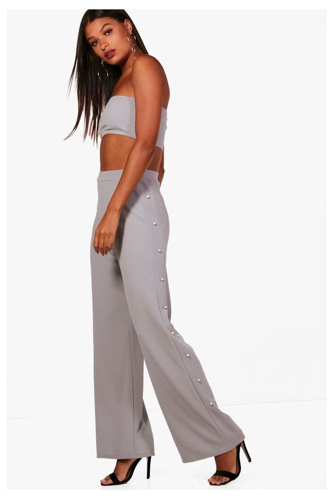 Pearl Detail Trouser & Bandeau Co-Ord - silver