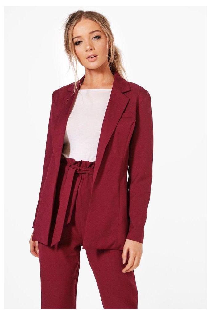 Premium Tailored Blazer - burgundy