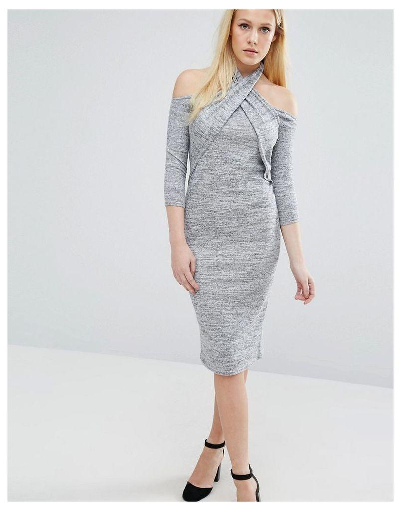 Lost Ink Twist Long Sleeve Halter Detail Dress - Grey