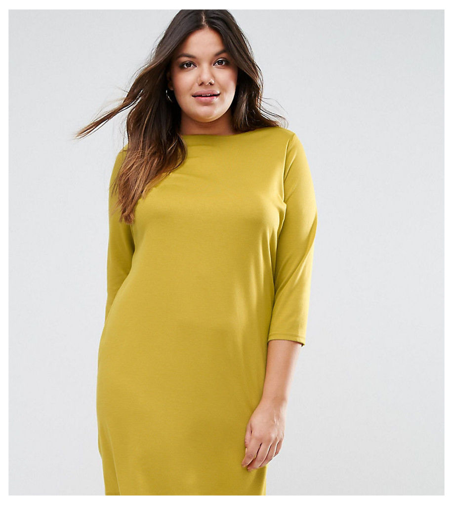 ASOS CURVE Ponte Shift Dress with 3/4 Sleeve - Chartreus