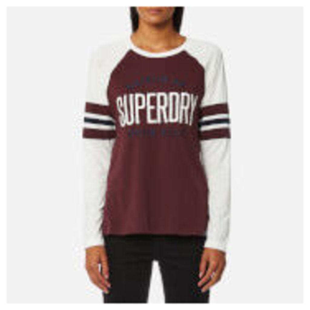Superdry Women's Appliqué Football Raglan Top - Ecru/Egerie Burgundy