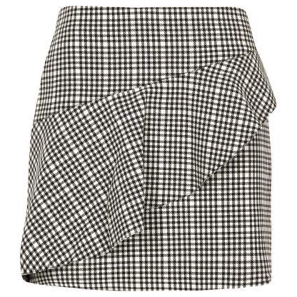 River Island Womens Black check frill mini skirt