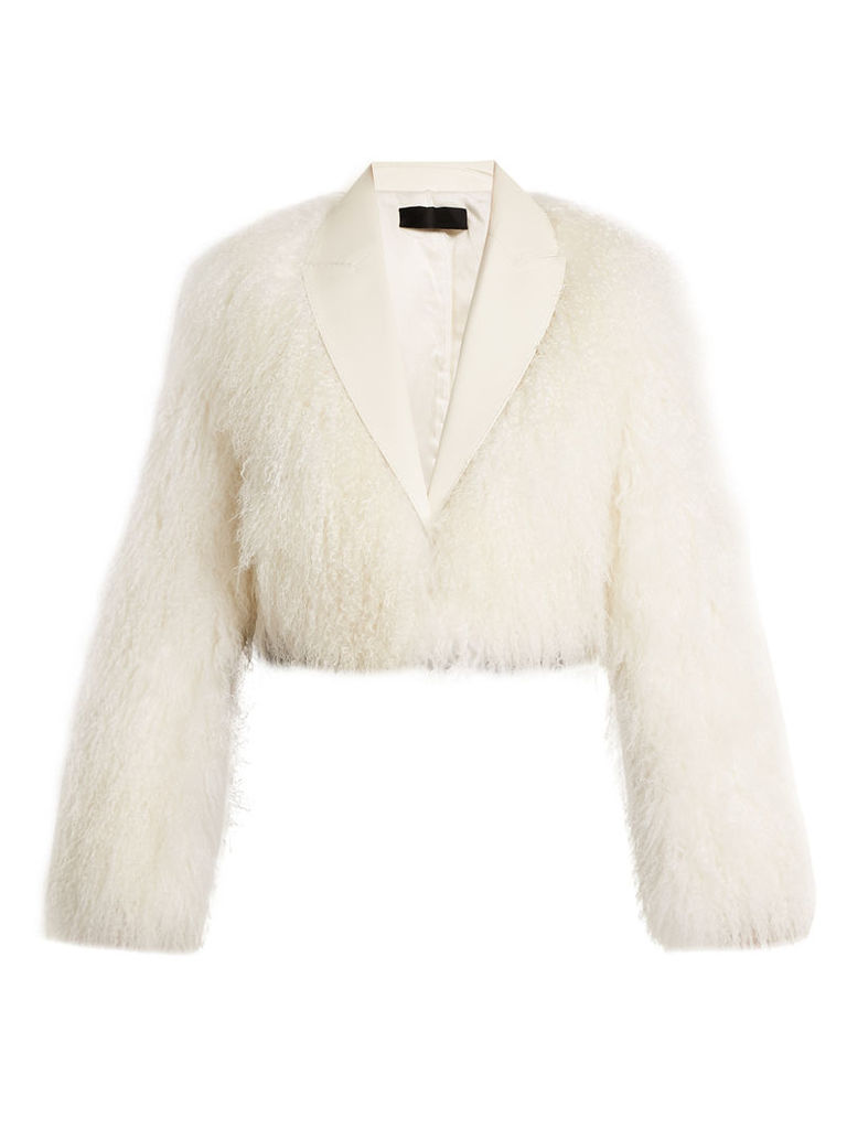 Haider Ackermann - Cale Leather Trimmed Shearling Jacket - Womens - White
