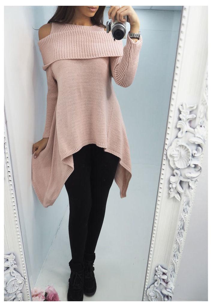 Aletta knitted cold shoulder drape jumper