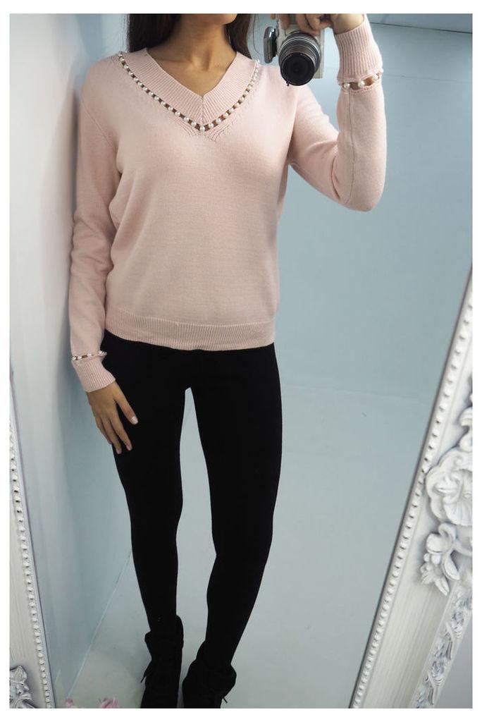 Cassie pearl v-neck knitted jumper