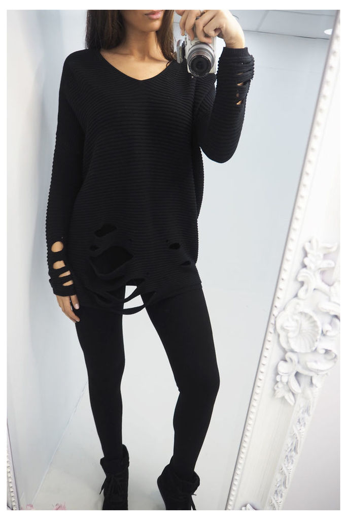 Novana BLACK ragged loose fit jumper