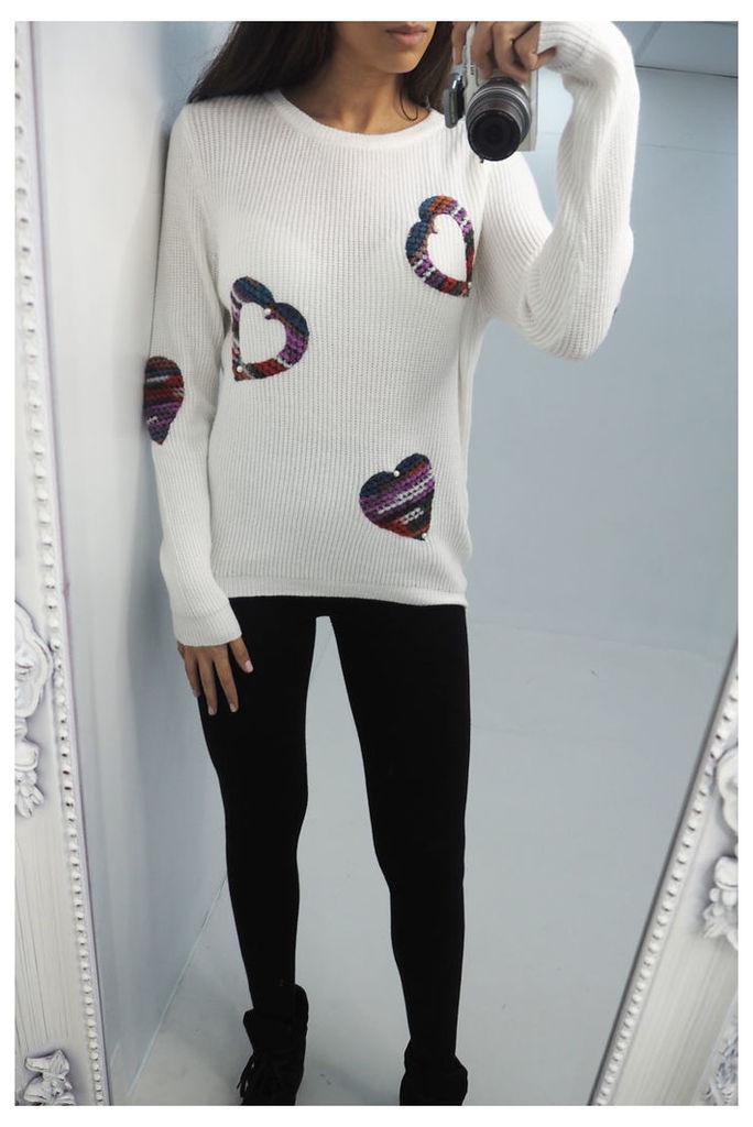 Sabrine knitted heart & pearl jumper