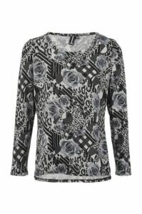 Floral & Check Tunic Top