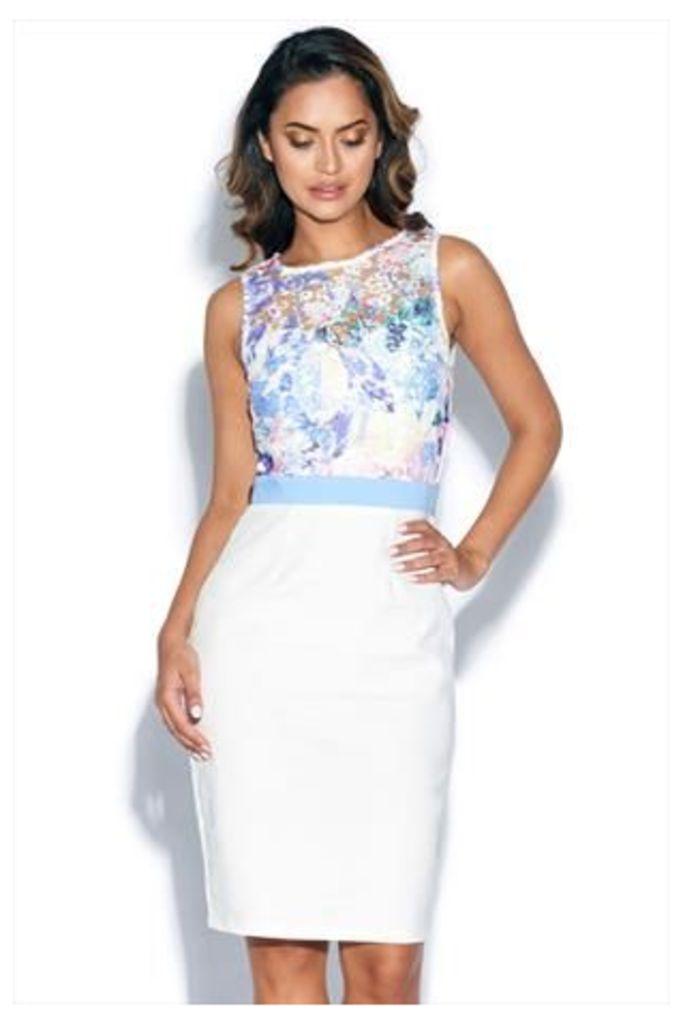 Floral Crochet Print Top Skirt Dress