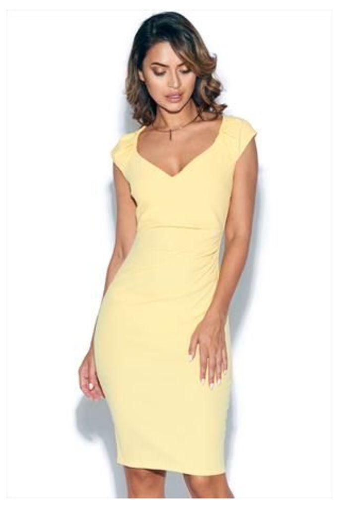 Lemon Pleated Midi Dress