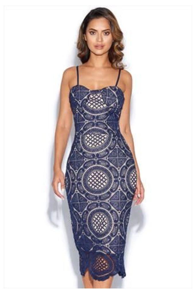 Navy Blue Bustier Lace Midi Dress