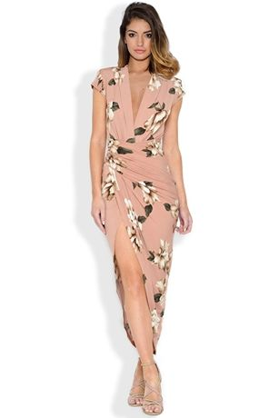 Cap Sleeve Floral Print Plunge Front Dress
