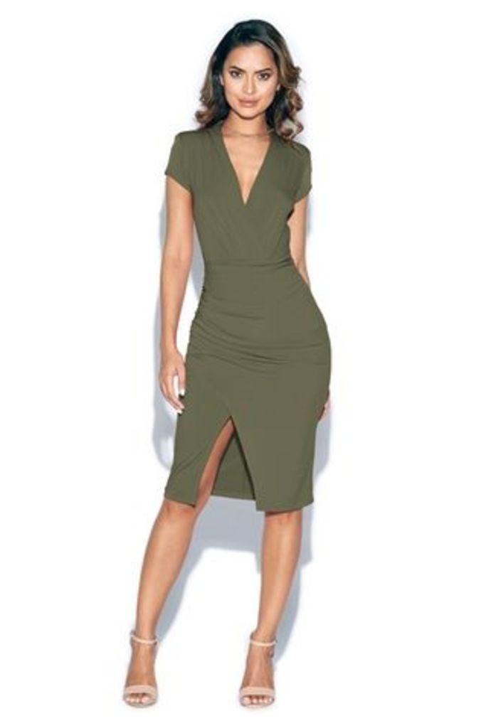Short Sleeved Plunge Front Midi Dress