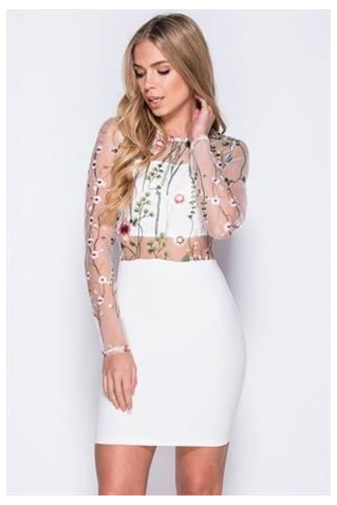 Flower Embellished Long Sleeve Contrast Mesh Dress