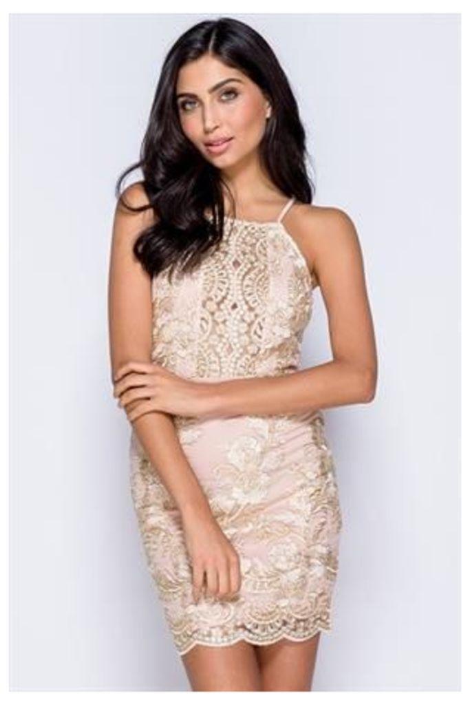 Metallic Lace Front Cami Bodycon Mini Dress