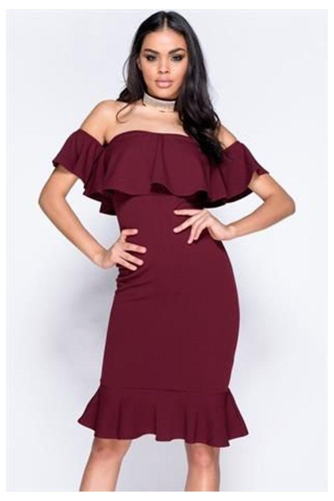 Bardot Frill Hem Bodycon Dress