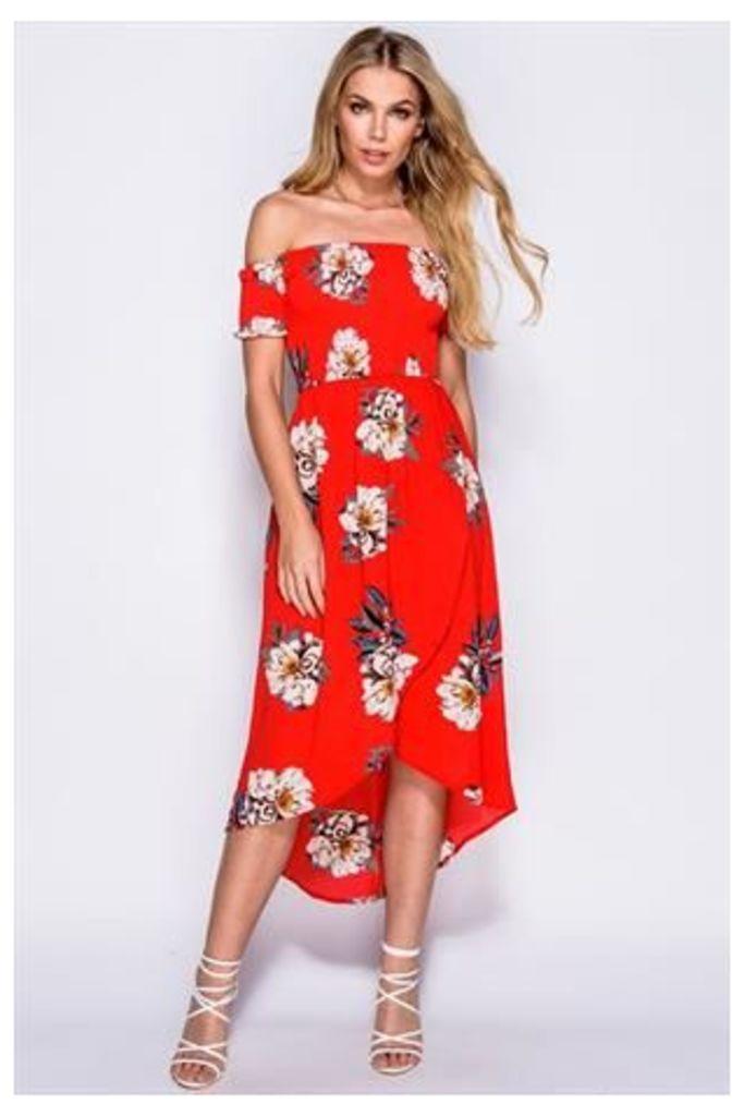 Red Front Cross Over Dip Hem Floral Print Bardot Dress