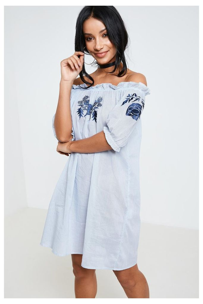 Brand Attic Floral Embroidered Cotton Bardot Beach Dress - Blue