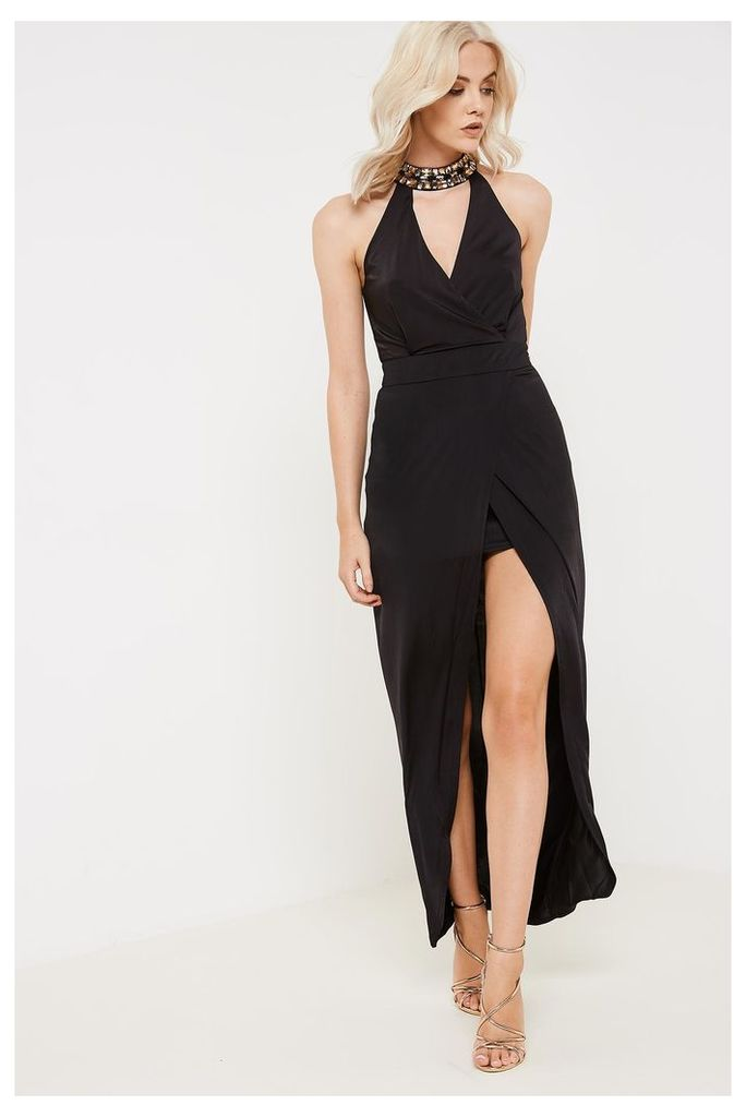Girl In Mind Calista Embellished Plunge Cut-out Maxi Dress - Black