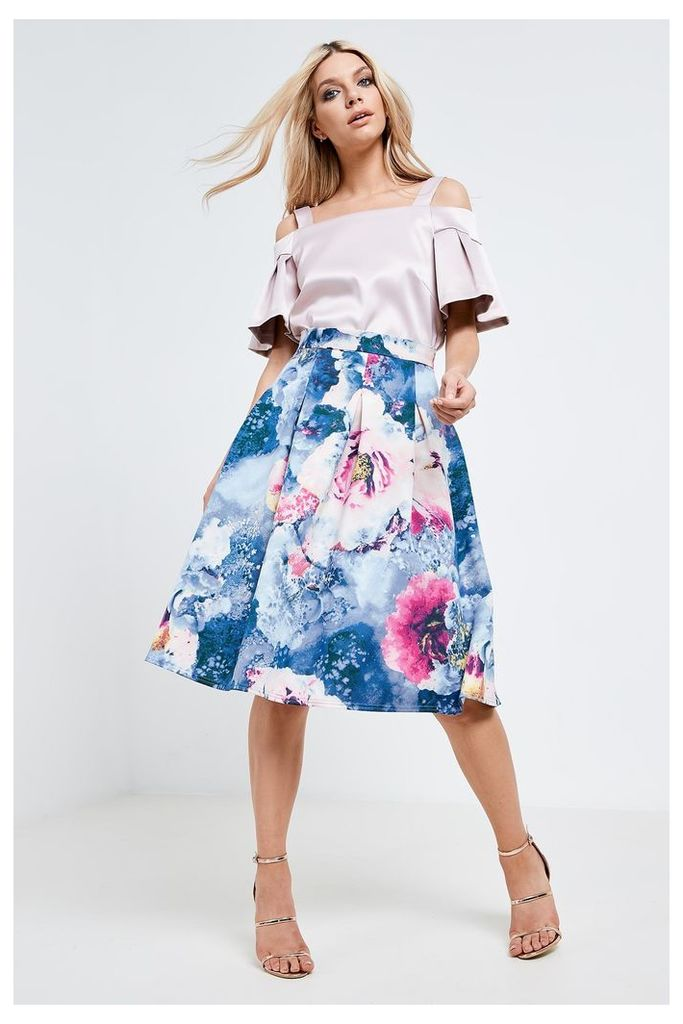 Closet Floral Print Jersey Pleated Midi Skirt - Blue