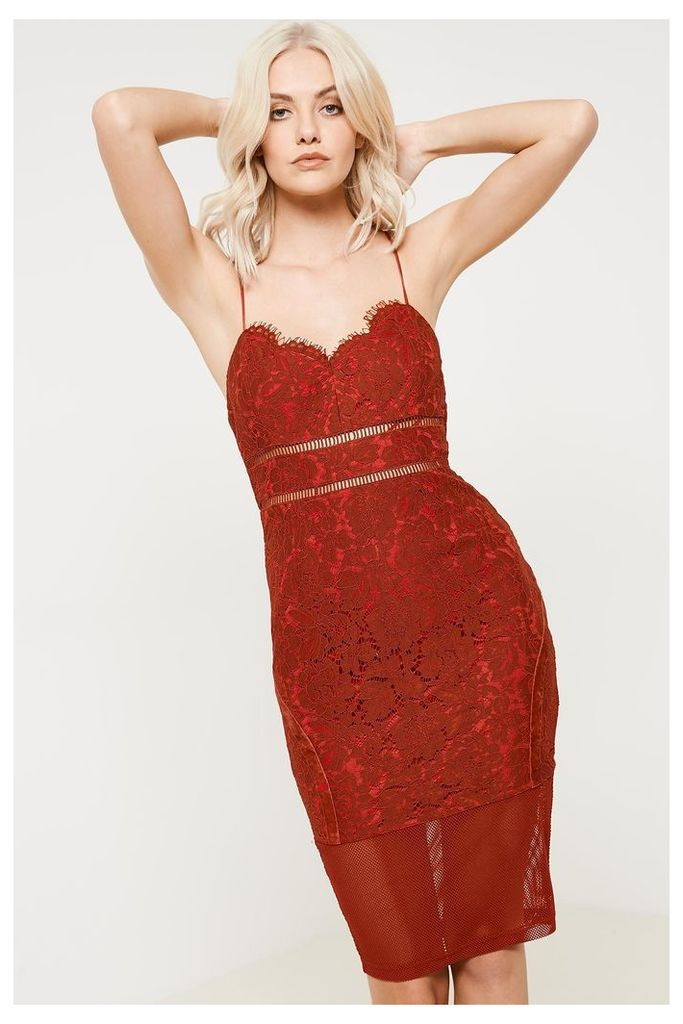 Girl In Mind Ava Floral Lace Dress - Red