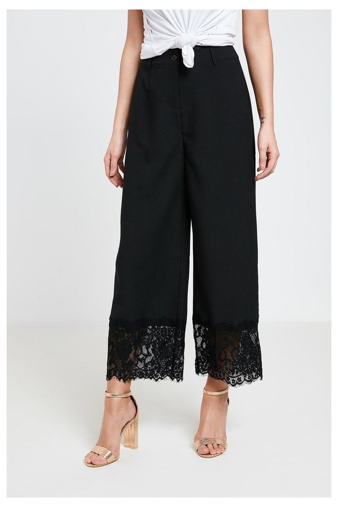 Fashion Union Lace Hem Trousers - Black
