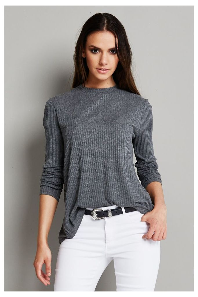 Vila Lenda Long Sleeved Top - Grey