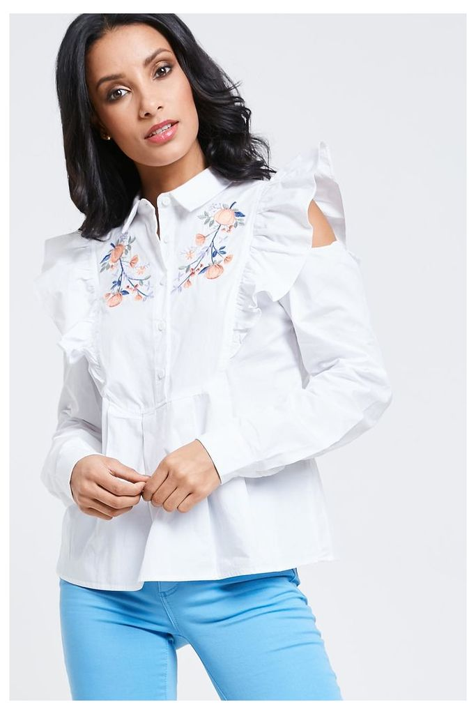 Fashion Union Embroidered Ruffle Shirt - White