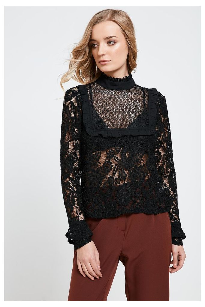 Fashion Union Floral Lace High Neck Shirt - Black