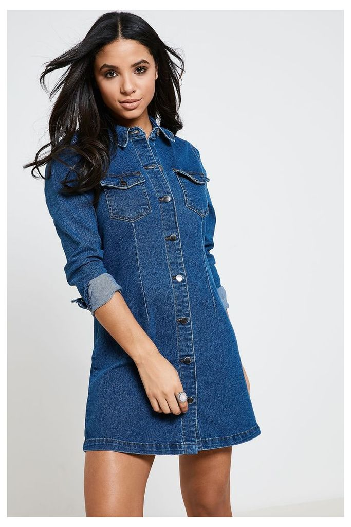 Jacqueline de Yong Long Sleeve Denim Shirt Dress - Blue