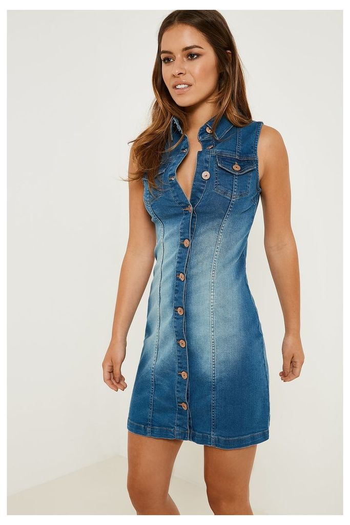Parisian Sleeveless Button-up Denim Dress - Blue