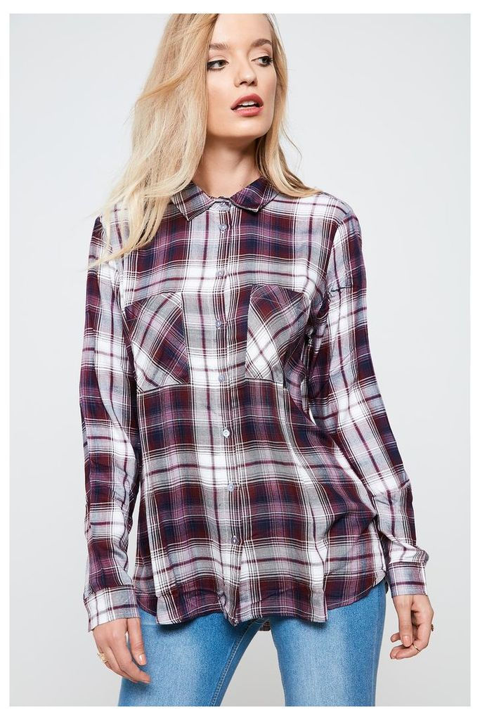 Jacqueline de Yong Comet Long Sleeve Check Shirt - Grey