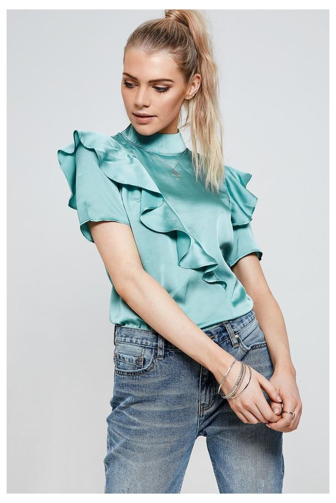 Fashion Union Asymmetric Ruffle Detail Satin Top - Green