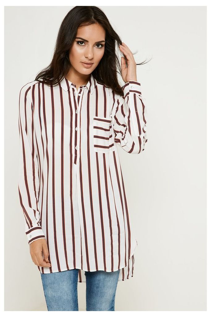 Y.A.S Jola Striped Long Shirt - Off-White